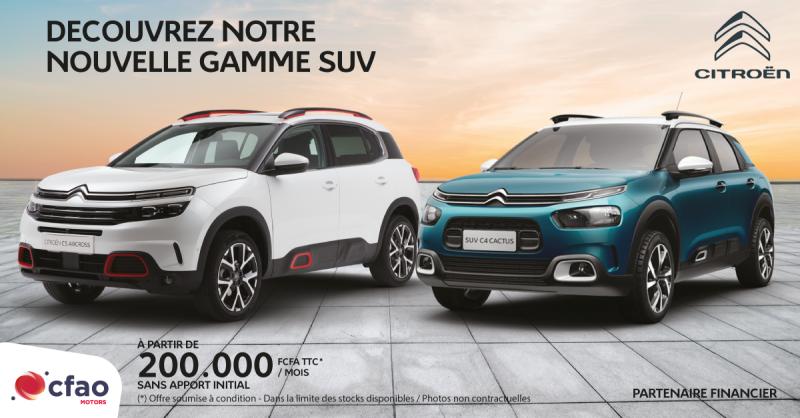Nouvelle gamme SUV à partir de 200.000 FCFA TTC par mois sans apport