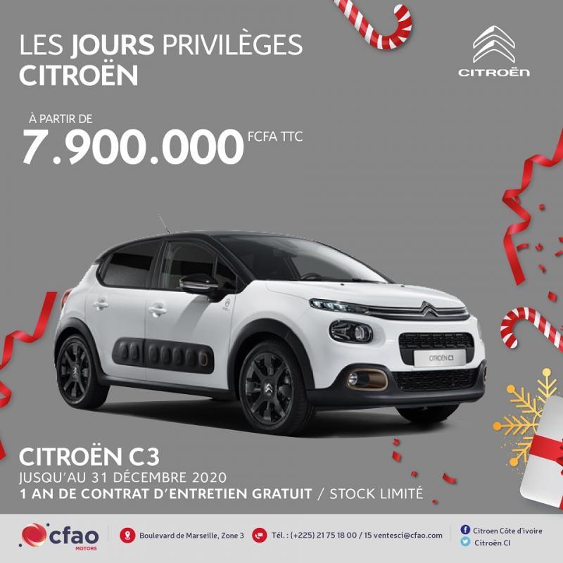 Citroën C3 à 7.900.000 FCFA TTC + 1 an d'entretien gratuit