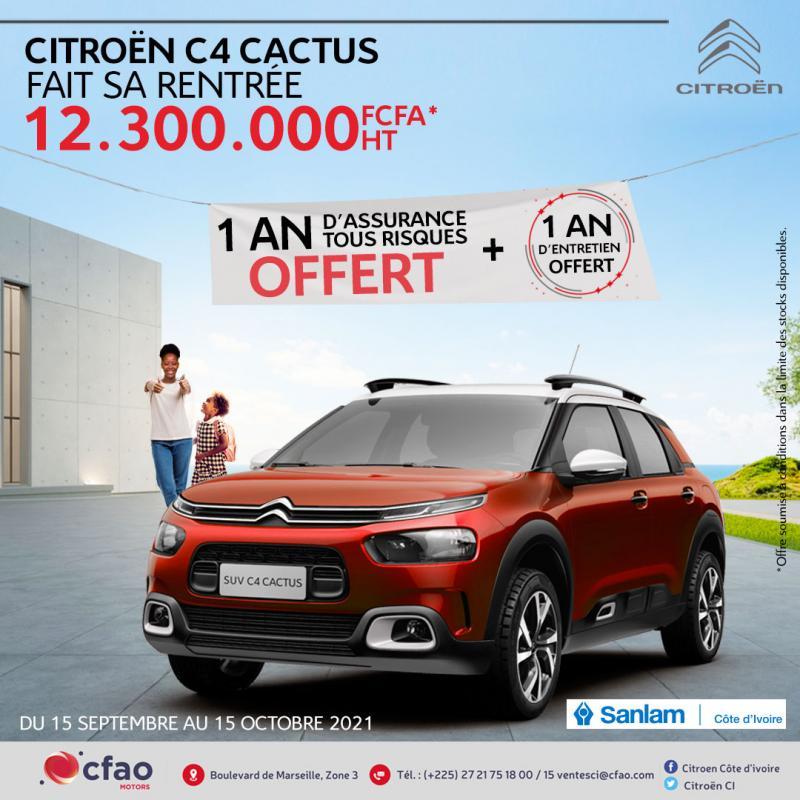 Citroën C4 Cactus à seulement 12.300.000 FCFA HT + 1 an d'assurance offert par SANLAM